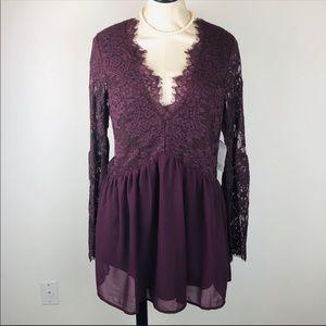 SOLD ❗️Tobi Merlot Lace Bell Sleeve Dress